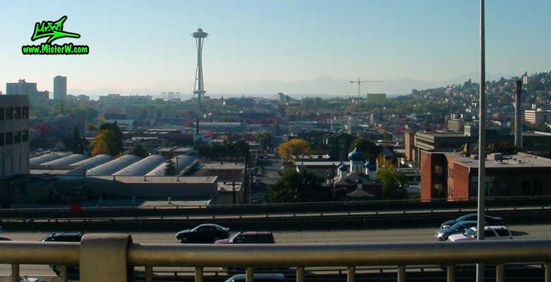 Photo of the Space Needle & the Key Arena in Seattle taken from Melrose Avenue / Harrison Street in summer 2002  Space Needle in Seattle