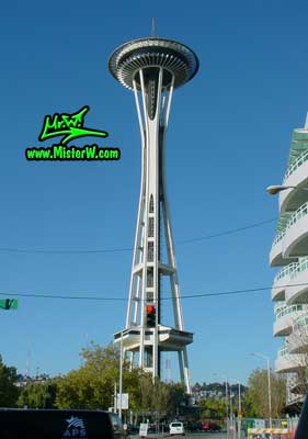 Photo of the Space Needle in Seattle taken from 4th Avenue / Denny Way in summer 2002  The Space Needle in Seattle