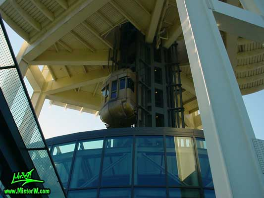 Photo showing one of the 3 elevator capsules that transport people up the Space Needle viewing platform Space Needle Elevator Capsule