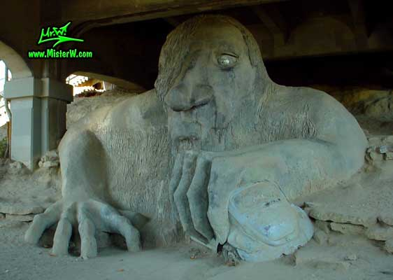 Photo of the Fremont Troll sculpure under the north end of the Aurora Bridge / George Washington Memorial Bridge The Fremont Troll