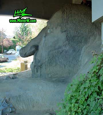 Side view of the Fremont Troll sculpure under the George Washington Memorial Bridge in Seattle, summer 2002 The Fremont Troll under the George Washington Memorial Bridge in Seattle