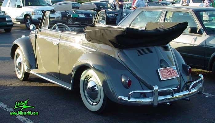 Photo of a grey Volkswagen Käfer (Bug or Beetle) Convertible at the Scottsdale Pavilions Classic Car Show in Arizona. VW Käfer Convertible