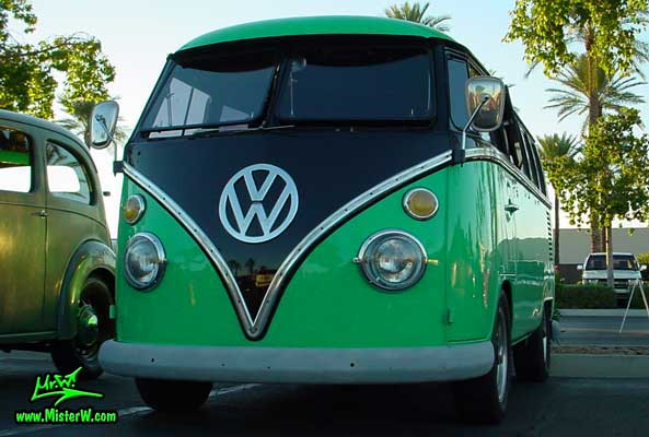 Photo of a green & black Volkswagen Type 2 Transporter Van at the Scottsdale Pavilions Classic Car Show in Arizona. Front view of a VW Bus Transporter Van