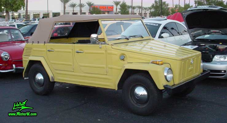 Photo of a yellow Volkswagen Type 181 Thing at the Scottsdale Pavilions Classic Car Show in Arizona. VW Typ 181 Kurierwagen