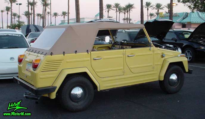 Photo of a yellow Volkswagen Type 181 Thing at the Scottsdale Pavilions Classic Car Show in Arizona. VW Thing