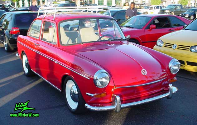 Photo of a red Volkswagen Type 3 Notchback Coupe at the Scottsdale Pavilions Classic Car Show in Arizona. VW Typ 3 Stufenheck Limousine
